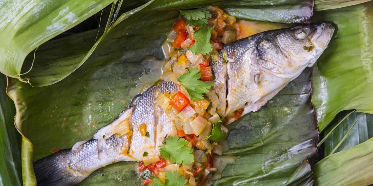 Barbecue sea bass escabeche