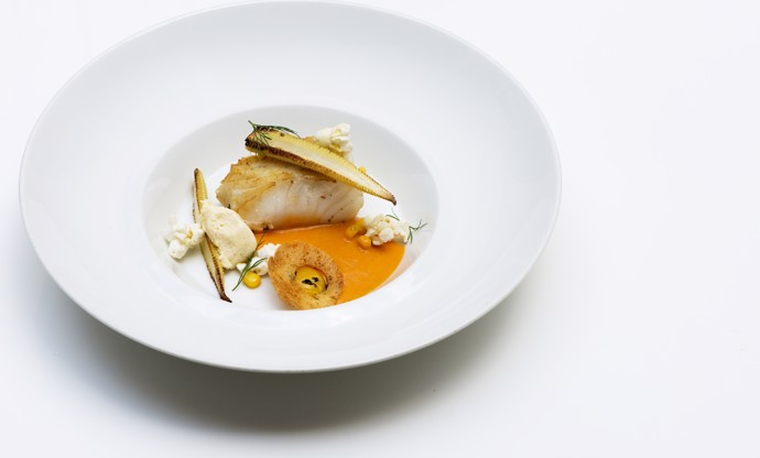 Cod with cold corn bisque