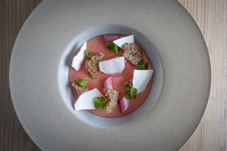 Toasted barley set cream with rhubarb and linseed