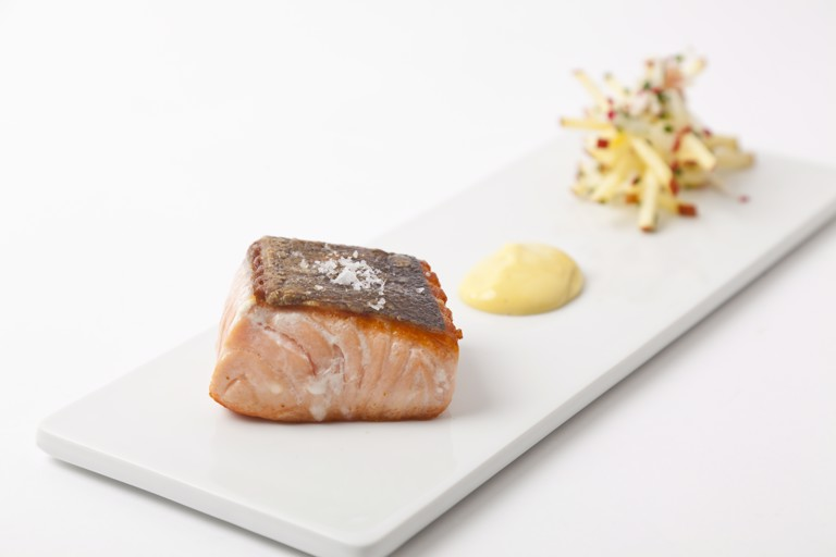 Seared salmon with apple and radish salad