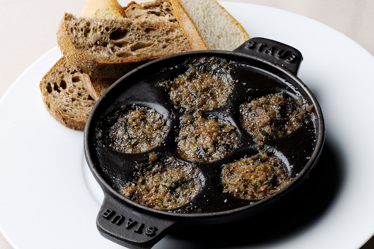 Cassolette of snails and anchovies