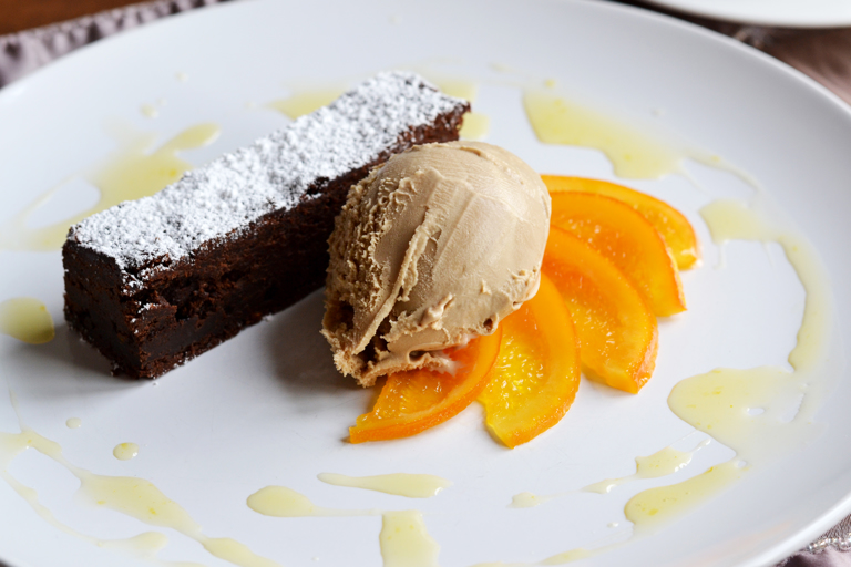 Cardamom and orange brownies with candied orange