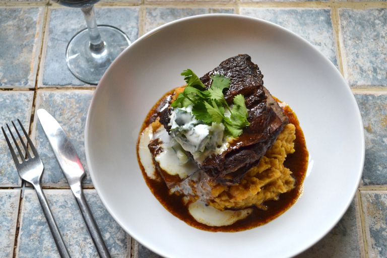 Braised beef with a sweet potato and red lentil dahl (madras)