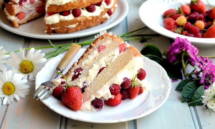 Serve cut into slice with extra fruit