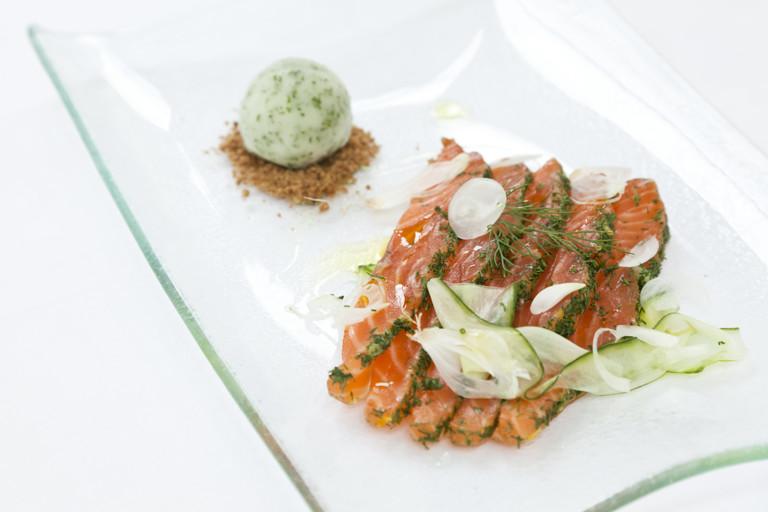 Gravadlax of salmon with lime sorbet