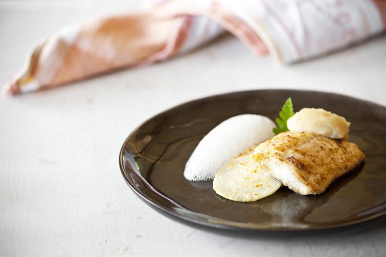 Plaice with celeriac, apple and lemongrass purée and cobnut foam