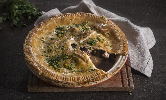 British game pie with orange and parsley gremolata