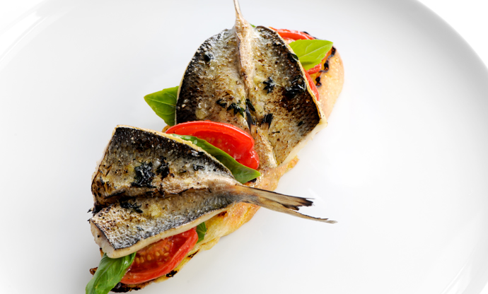 Grilled sardines on ciabatta with tomato confit, basil and tapenade
