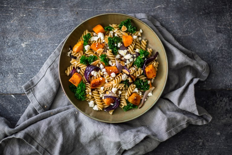 Fusilli Pasta Salad with Kale, Pumpkin and Toasted nuts
