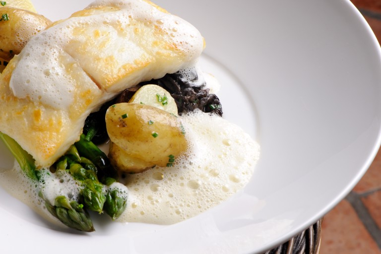 Wild halibut with morels, wild garlic and Jersey Royals
