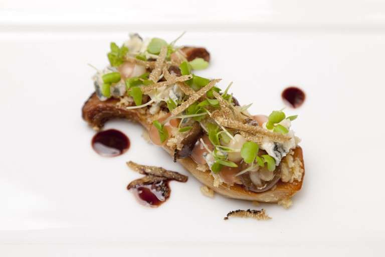 King oyster mushroom, blue cheese, cherry vinegar, chocolate, truffle