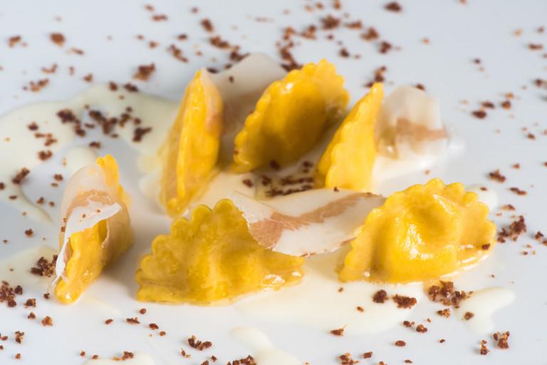 Potato, guanciale and Pecorino ravioli