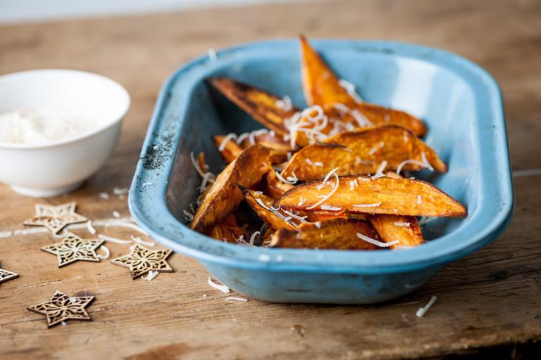 Sweet potato chips with mango crème fraîche and Parmesan snow