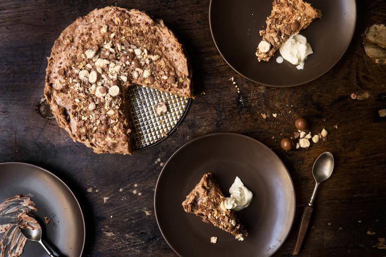 Three chocolate no-bake malteser cheesecake