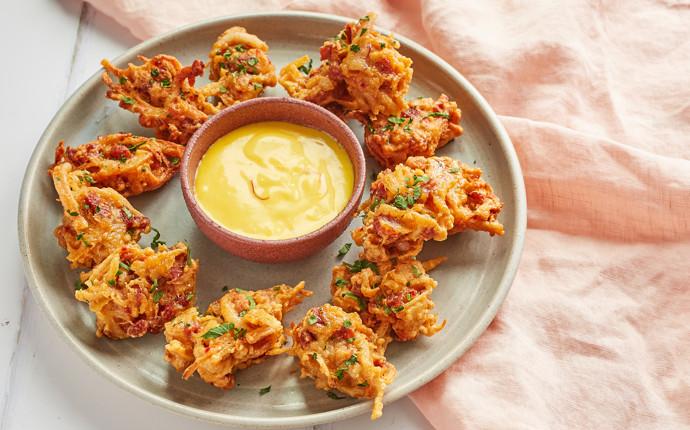 Chorizo, squid and potato fritters with saffron aioli