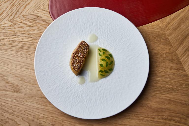 Andignac foie gras with white melon, sansho pepper and lime