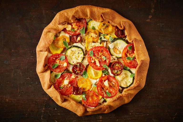Tomato and courgette khorasan galette