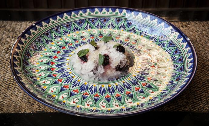 Coconut granita with bird's nest, mulberries, yoghurt and mochi