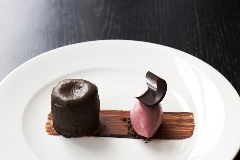 Chocolate and griottine fondant with cherry yoghurt ice cream