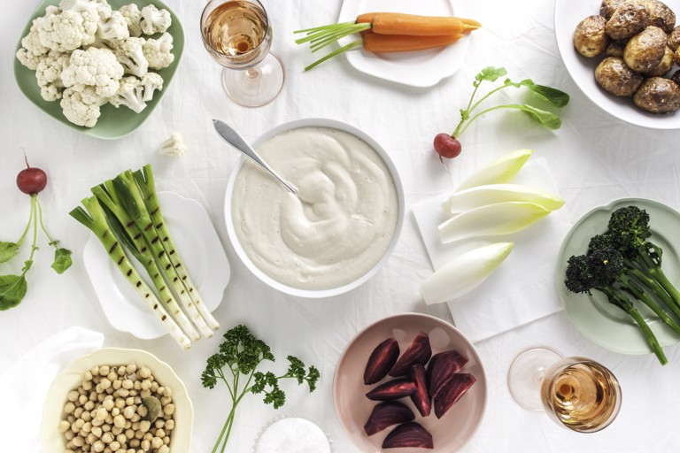 A feast of winter vegetables with silken tofu aioli