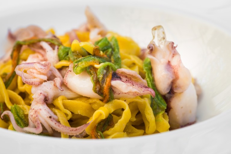 Tagliolini with squid and courgette flowers