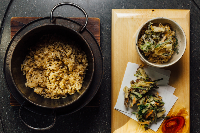 Truffle sansai kamameshi  – truffle iron pot rice with Japanese mountain vegetable kakiage