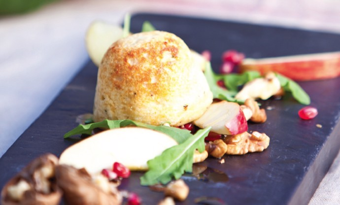 Cheese soufflés with apple, walnut and pomegranate salad
