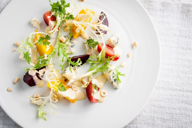 Roasted baby beetroots with hazelnuts, blue cheese and mustard