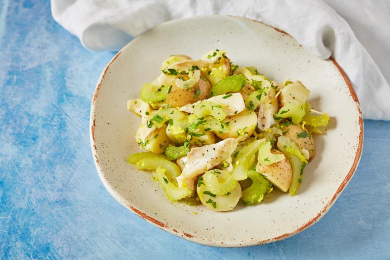 Celery, potato and salt cod salad