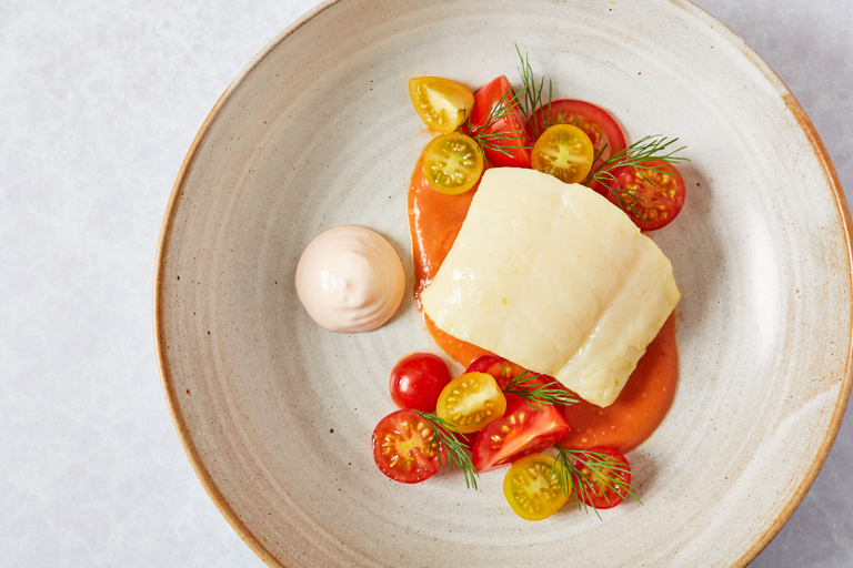Hot smoked cod, tomato, basil and cods roe
