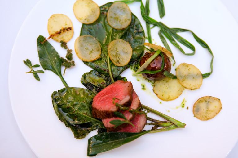 Welsh Lamb rump and faggot, three-cornered leek, Welsh beach vegetables and gutweed potatoes