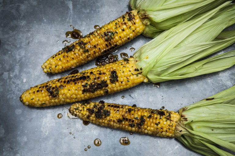 Grilled sweetcorn with chilli oil-infused butter