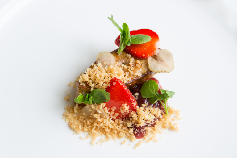 Roasted foie gras and strawberries