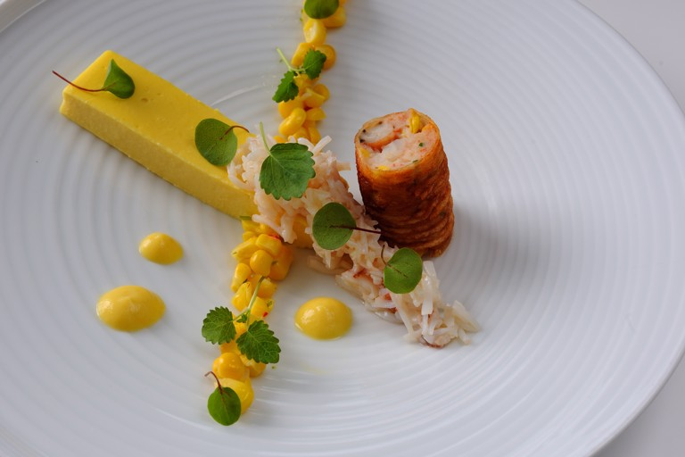 Sweetcorn panna cotta with crab cannelloni