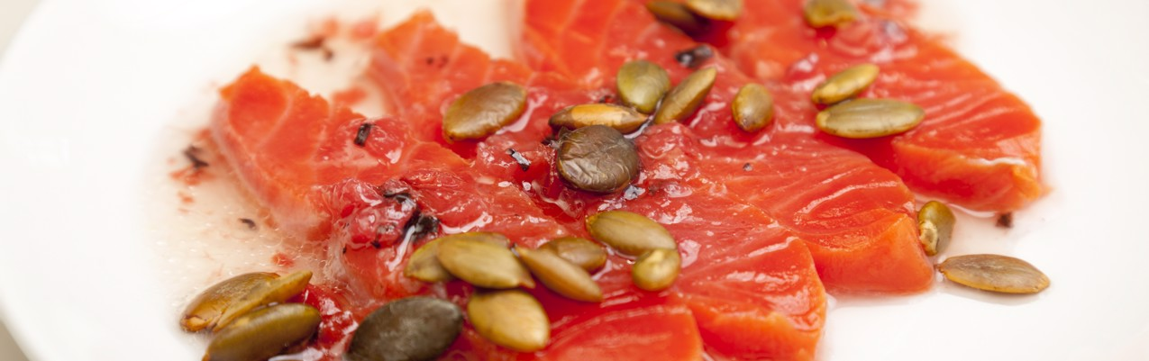 Alaska salmon sashimi, umeboshi and argan oil dressing, toasted pumpkin seeds