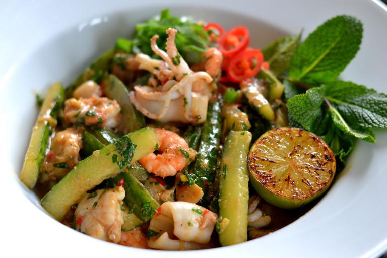Vietnamese seafood and cucumber stir-fry