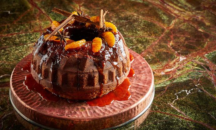 Chocolate, orange and caramel bundt cake