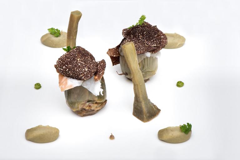 Pecorino-stuffed artichokes with black truffle and guanciale