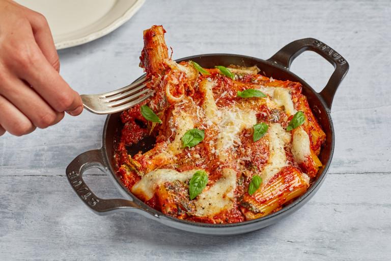 Rigatoni imbottiti – mortadella and cheese stuffed pasta