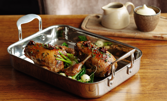 Honey-glazed mallard, confit leg, turnips, cavolo nero