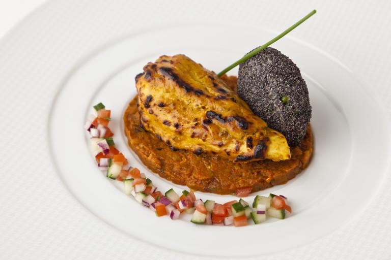 Achari pheasant, spiced aubergine, caviar and poppy seed-pheasant cake