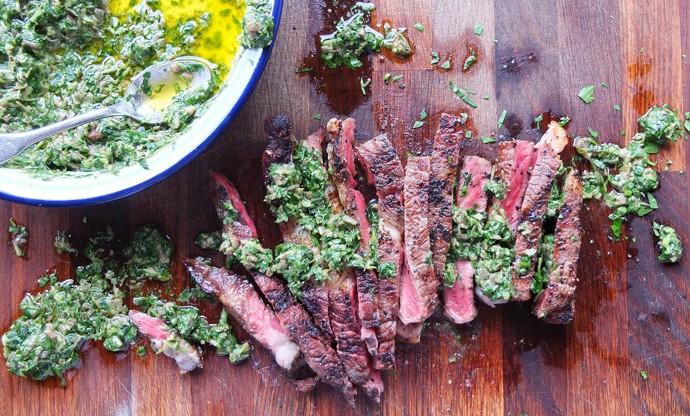 Barbecue rib eye steak with watercress salsa verde