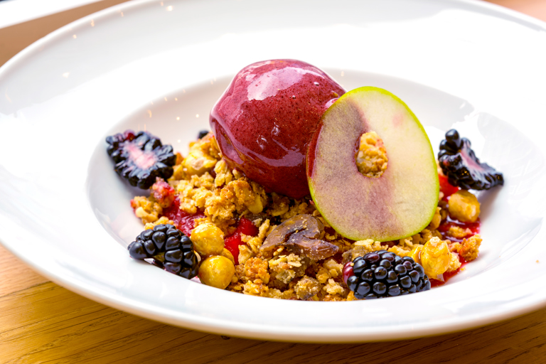 Apple and blackberry compote with hazelnut crumble and blackberry sorbet