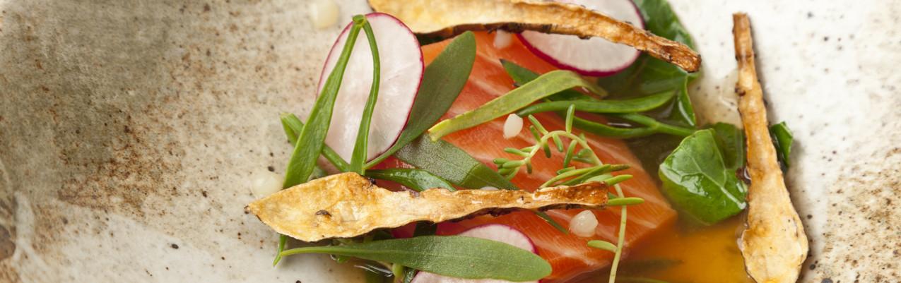 40°C salmon with potato juice, Jerusalem artichoke and sea vegetables