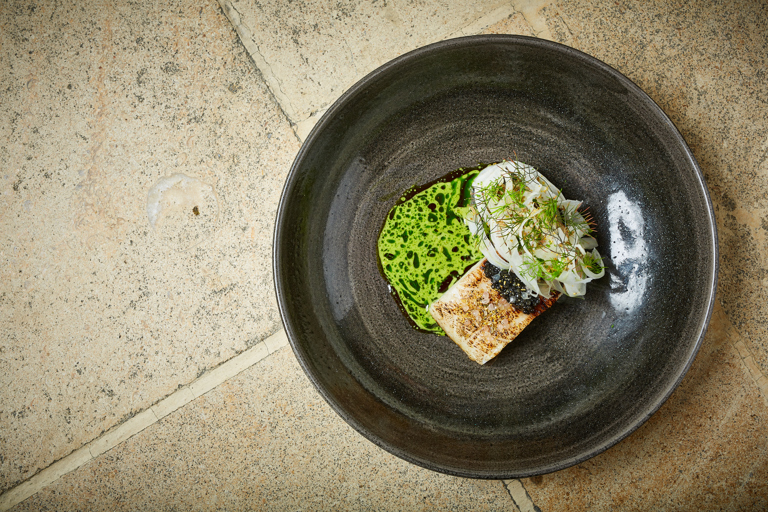 Sturgeon with caviar, fennel and dill oil