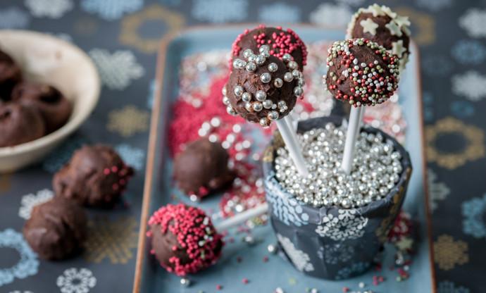 Chocolate truffle lollipops