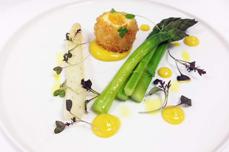 Asparagus, crispy pheasant egg and rapeseed mayonnaise