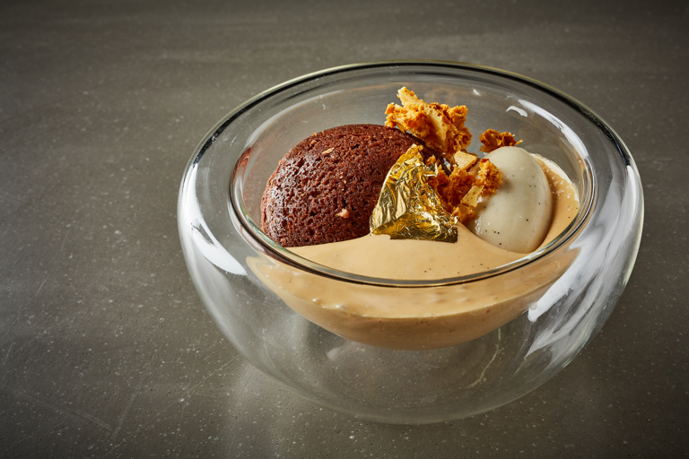 Chocolate moelleux with caramel foam and cardamom ice cream