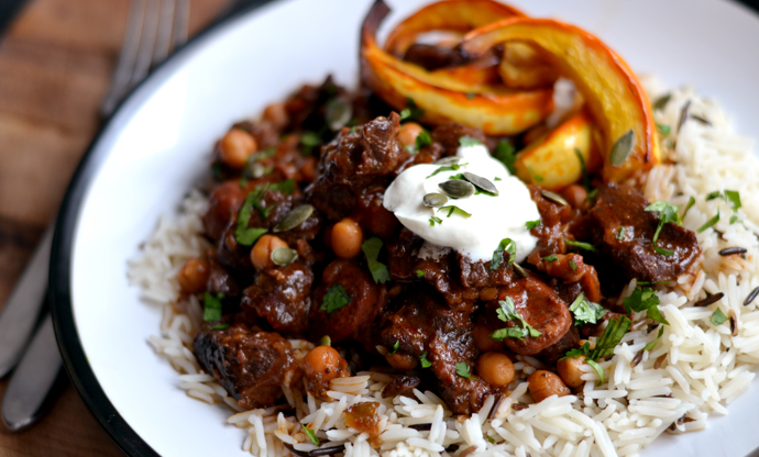 Spicy beef shin hotpot with roast squash wedges