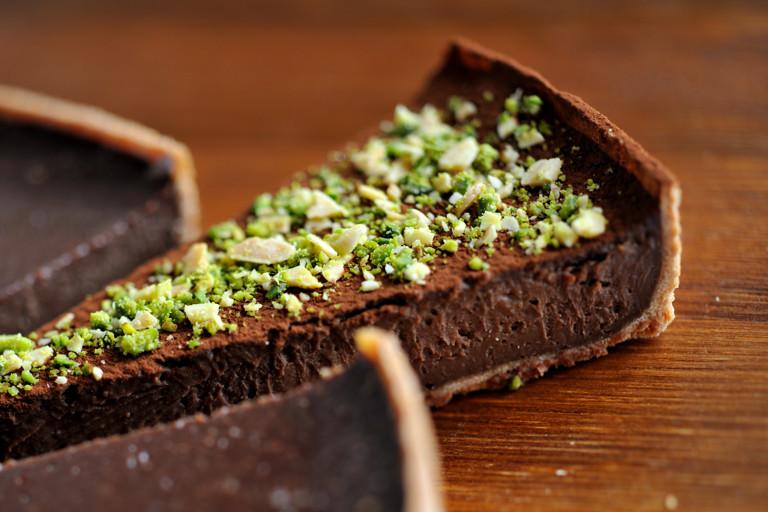 Bitter chocolate and malt tart